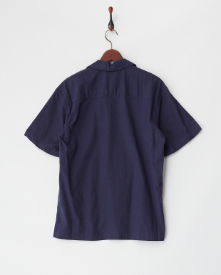 L.ネイビー  綿麻ストレッチオープンシャツ見る