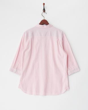 ピンク  綿麻ストレッチ7分袖シャツ見る