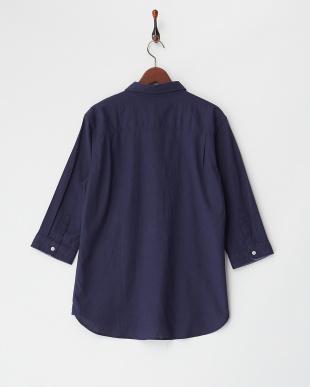 L.ネイビー  綿麻ストレッチ7分袖シャツ見る