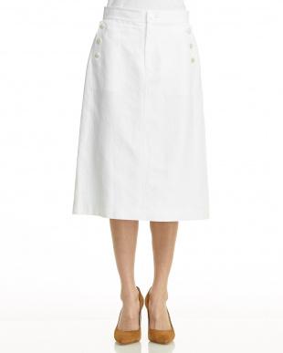 オフホワイト 後染めコットンリネン サイドボタンタイトスカート見る