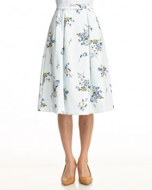 オフホワイト  オリジナルスプリングフラワー柄スカート見る