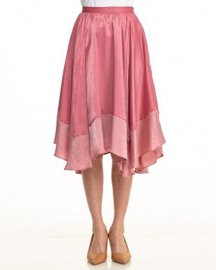 ピンク 配色ランダムスカート見る