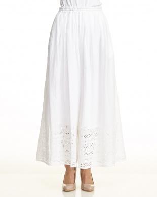 ホワイト  スカラップ 刺繍 ワイド パンツ見る