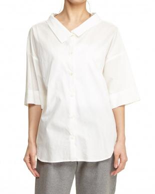 ホワイト  ウォッシュ加工 ワイドシャツ見る