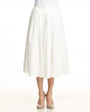 オフホワイト  裾刺繍 プリーツ ロング スカート見る