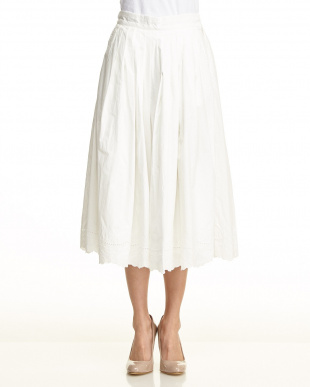 グレー  裾刺繍 プリーツ ロング スカート見る