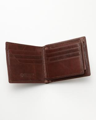 ダークブラウン  牛革ヴィンテージ風2つ折り財布見る
