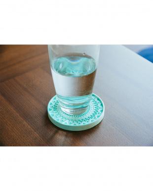 ブルー  珪藻土コースター Plus デザイン 4枚セット見る