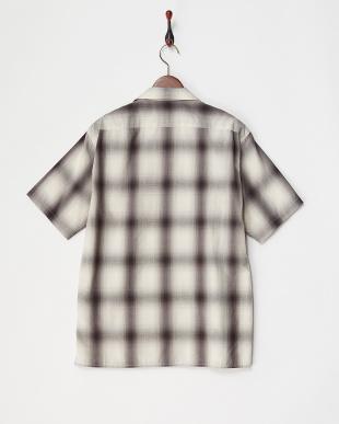 BK/PT オンブレチェックオープンカラーシャツ見る