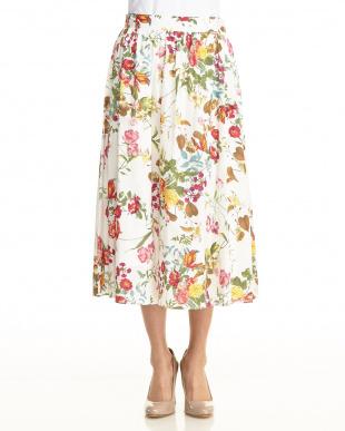 ネイビー  花柄ロングスカート見る