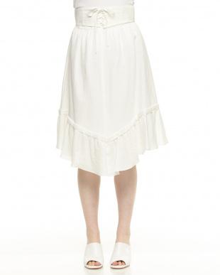 オフホワイト  コルセット付き フレアスカート見る