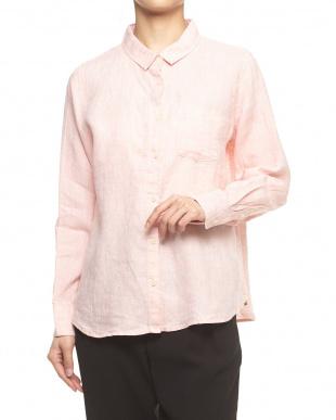 ピンク  カシュクール2WAYリネンシャツ見る