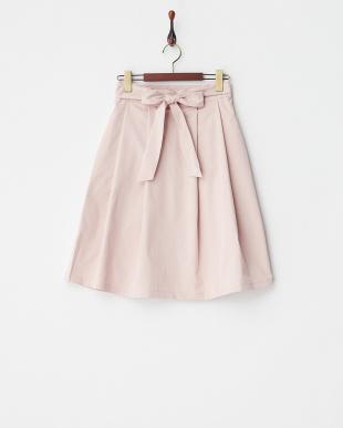 ピンク  ウエストリボンフレアスカート見る