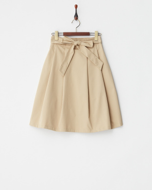 ベージュ  ウエストリボンフレアスカート見る