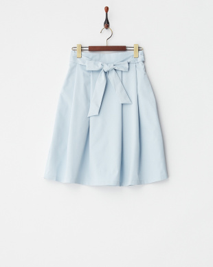 ブルー  ウエストリボンフレアスカート見る