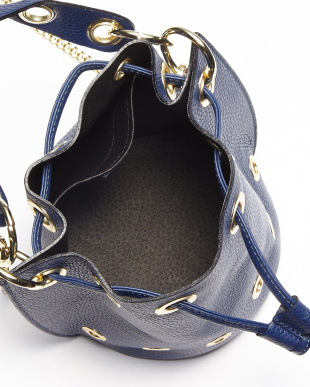 ブルー  イタリアンカーフ巾着バッグ見る