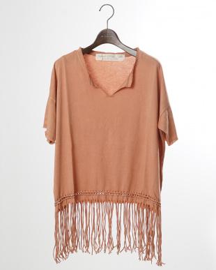 オレンジ コットンモダール編みこみ&フリンジTシャツ|WOMEN見る