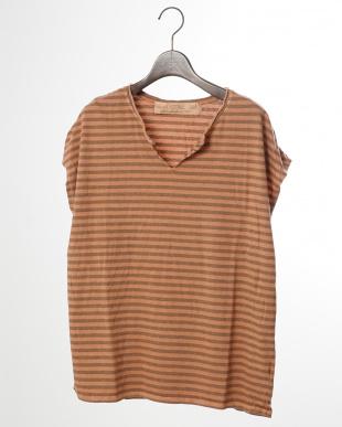 オレンジ  コットンモダールボーダー ピグメント・ドルマンTシャツ|WOMEN見る
