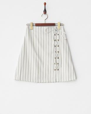 アイボリー柄 編み上げスカート見る