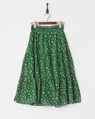 グリーン柄  小花柄ギャザースカート見る