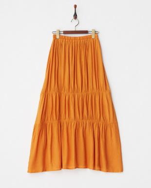 オレンジ  切替えギャザーロングスカート見る