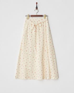 アイボリー  花柄ウエストリボンスカート見る