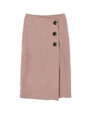 ボルドー ビッグボタンラップタイトスカート見る