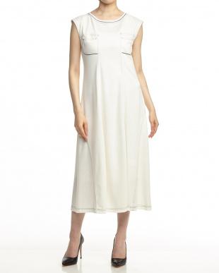 ホワイト デニム風ノースリーブドレス見る