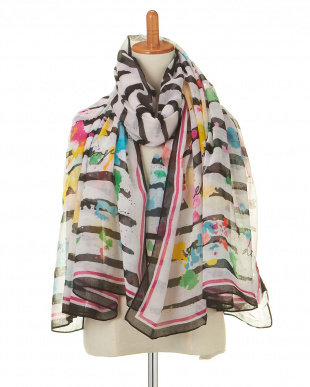 HUFSO FOULARD RECTANGLE MARINEストール見る