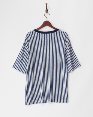 GRY/NVY  ストライプパイルTee WH見る