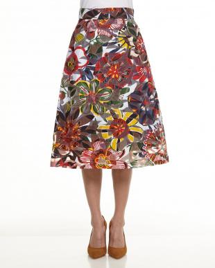 レッド系 PATRIZIA フローラルプリントスカート見る