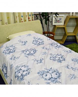 ブルー  ホワイトダウン70%使用 ロサ 洗える羽毛肌掛け布団 シングル見る