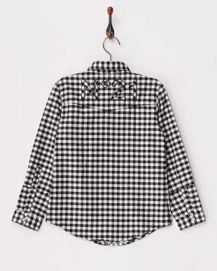 418 ブラック バックロゴ ギンガムチェック柄ワークシャツ|KIDS(32以下)見る