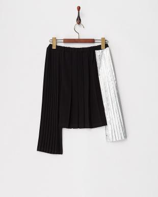 418 ブラック×シルバー ランダムプリーツスカート|KIDS見る