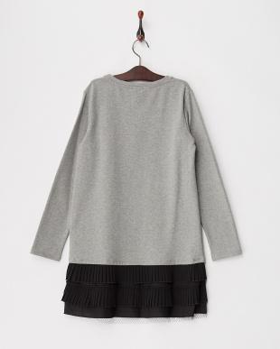 グレー 裾プリーツ切り替え裏起毛スウェットドレス|KIDS(34以上)見る