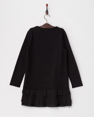 ブラック 裾プリーツ切り替え裏起毛スウェットドレス|KIDS(34以上)見る
