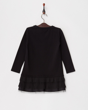 418 ブラック 裾プリーツ切り替え裏起毛スウェットドレス|KIDS(32以下)見る