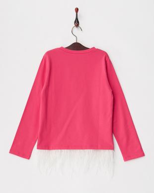 630 ピンク 裾フェザーフリンジ ロゴプリント裏起毛スウェット|KIDS見る