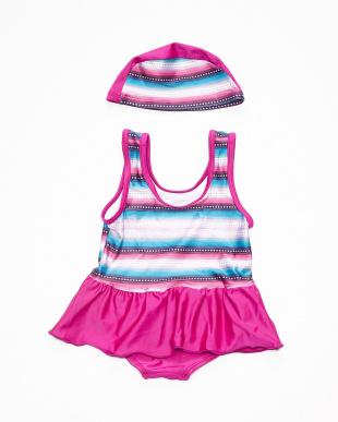 ピンク  スイムスーツ キャップ付き|BABY見る