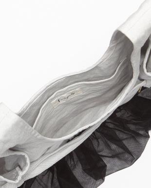 アイスグレー チュールフリル付きバッグ見る