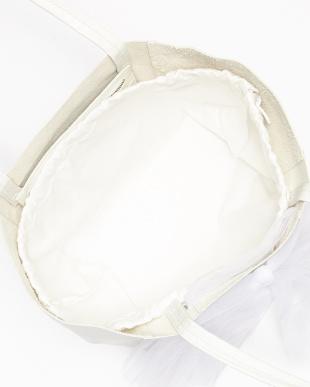 ホワイト  レースリボン付き レザートートバッグ見る