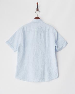 ブルー系  リネンコットン半袖シャツ SLIM ボタンダウン見る