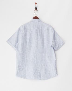 ネイビー系  リネンコットン半袖シャツ SLIM ボタンダウン見る