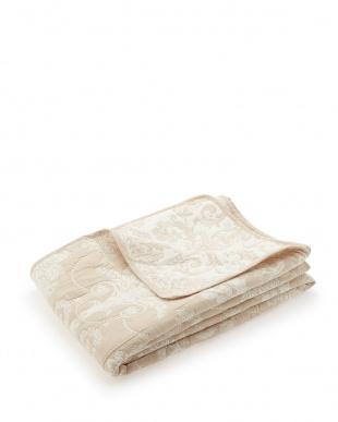 ベージュ ジャガード織マルチカバー イーリス 200×250cm見る