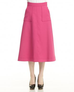 ピンク クロスステッチフレアスカート見る