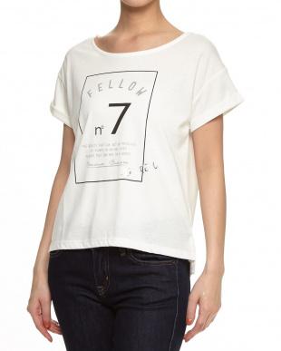 ライトグレー  ロゴプリントTシャツ見る