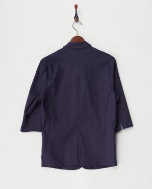 ネイビー  綿麻ストレッチ7分袖テーラードジャケット見る