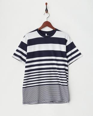 ネイビー×シロ(太ボーダー)  転換ボーダーTシャツ見る