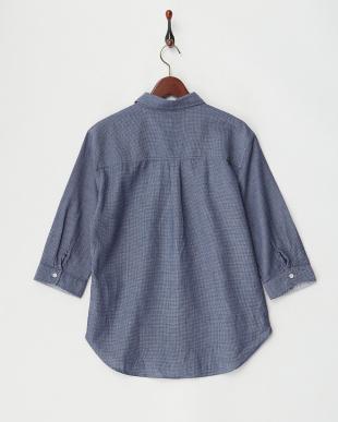 ネイビー  ワッフル織7分袖シャツ見る