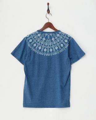 インディゴ濃  インディゴ抜染プリントTシャツ見る